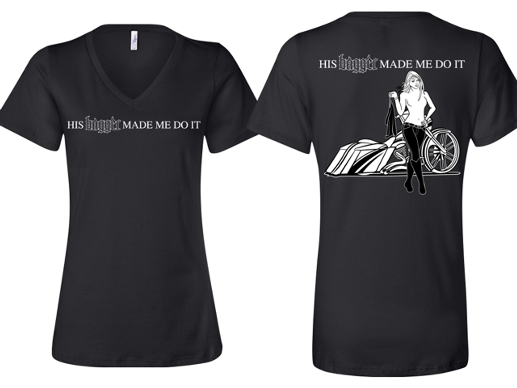 His Bagger Made Me Do It (Ladies Edition) V-Neck T-Shirt