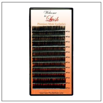 Single Volume D Curl 9mm to 16mm Premium Mink Eyelash Extension Tray-1