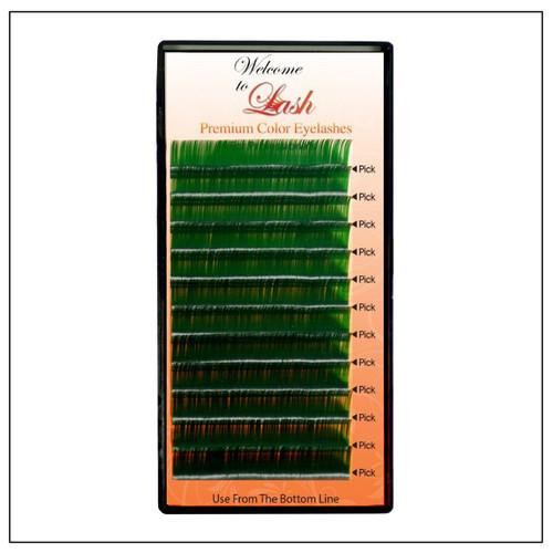 Single Green Classic CC Curl 9mm to 16mm Premium Mink Eyelash Extension Tray