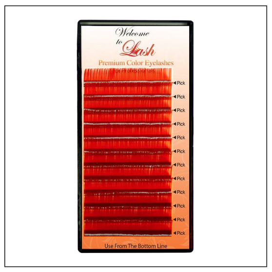 Single Red Classic CC Curl 9mm to 16mm Premium Mink Eyelash Extension Tray