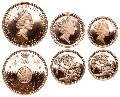 Great Britain Elizabeth II 1994 Gold Proof 3 Coin Set Two Pounds Sovereign Half-Sovereign Proof COA FDC