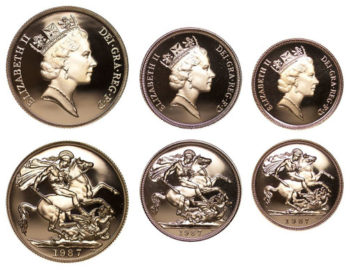 Great Britain Elizabeth II 1987 Gold Proof 3 Coin Set Two Pounds Sovereign Half-Sovereign Proof COA FDC