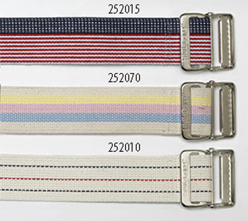 Cotton Gait Belt, Heavy Duty Webbing, Delrin Buckle - Pastel Stripes