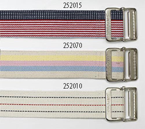 """Cotton Gait Belt, 60"""", Heavy-Duty Webbing, Metal Buckle - Pastel Stripes"""