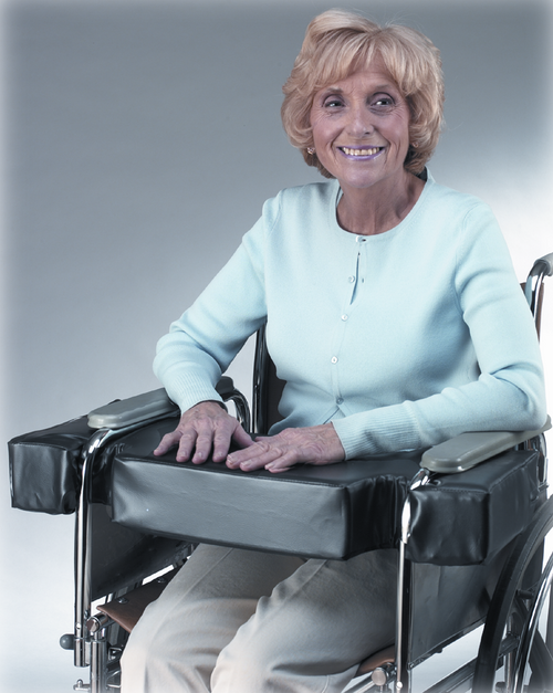 "Lap Top 4"" Thick Cushion w/Cutouts for Full-Arm Wheelchairs"