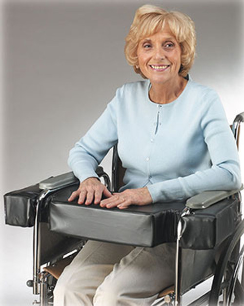"Lap Top 4"" Thick Cushion w/Cutouts for Half-Arm Wheelchairs, Fits 18"" W/C"