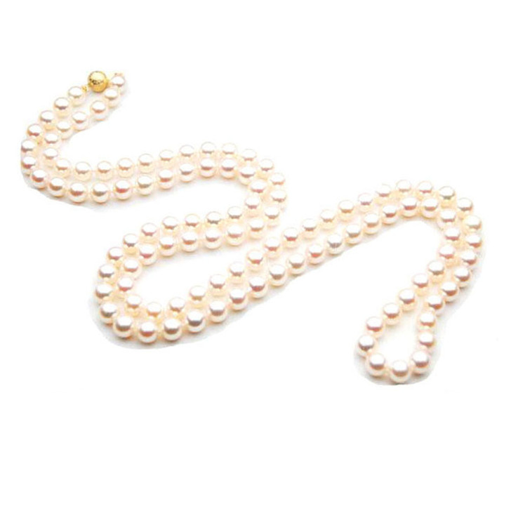 AN014 (AAA 7-7.5mm Japanese Akoya Saltwater Pearl Necklack gold clasp )