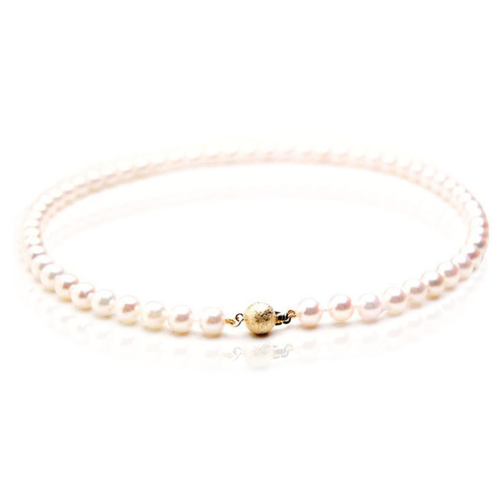 AN020 (AAA 7.5-8mm Japanese Akoya Saltwater Pearl Necklace  gold clasp )