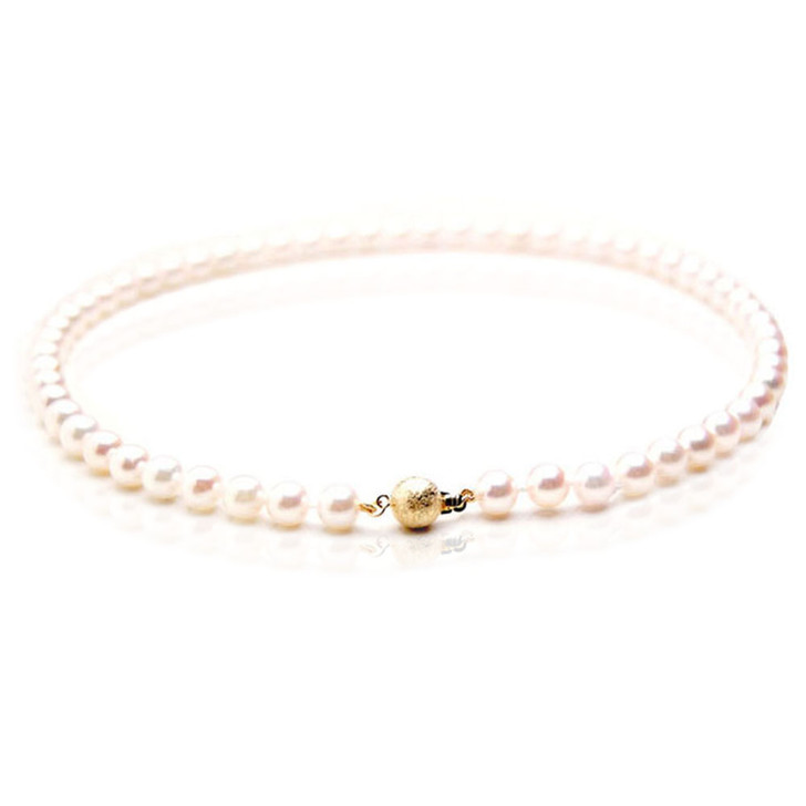 AN022 (AAA 7.5-8mm Japanese Akoya Saltwater Pearl Necklace gold clasp )