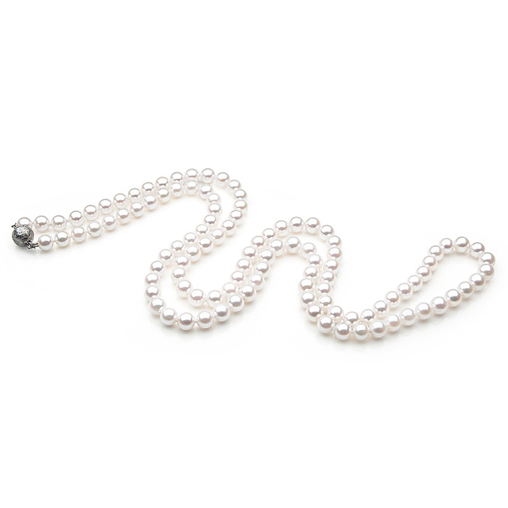 AN025 (AAA 7.5-8mm Japanese Akoya Saltwater Pearl Necklace  gold clasp )