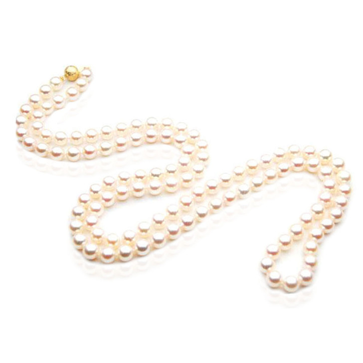 AN026 (AAA 7.5-8mm Japanese Akoya Saltwater Pearl Necklace  gold clasp )