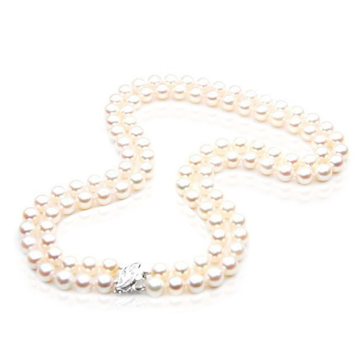 AN029 (AAA 7.5-8mm Japanese Akoya Saltwater Pearl Necklace diamond clasp)
