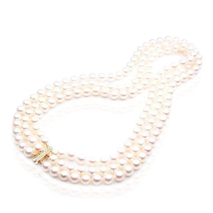 AN030 ( AAA 7.5-8mm Japanese Akoya Saltwater Pearl Necklace  diamond clasp )