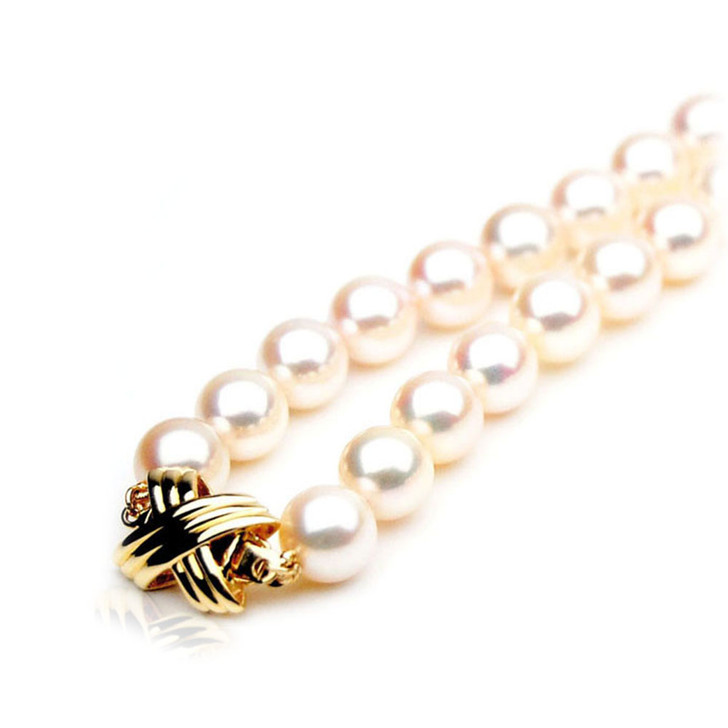 AN036 (AAA 8-8.5mm Japanese Akoya Saltwater Pearl Necklace gold clasp )