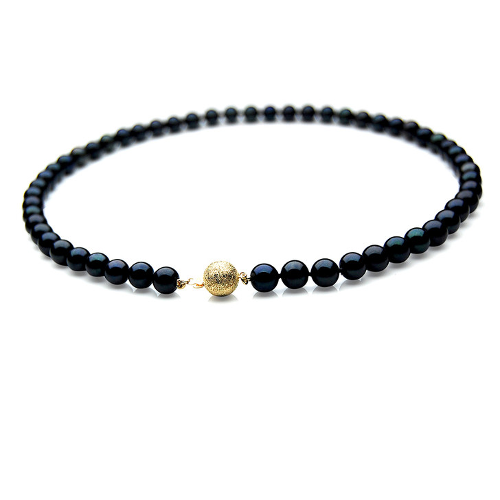 AN040 (AAA 7-7.5mm Japanese Akoya Saltwater Black Pearl Necklace  gold clasp )