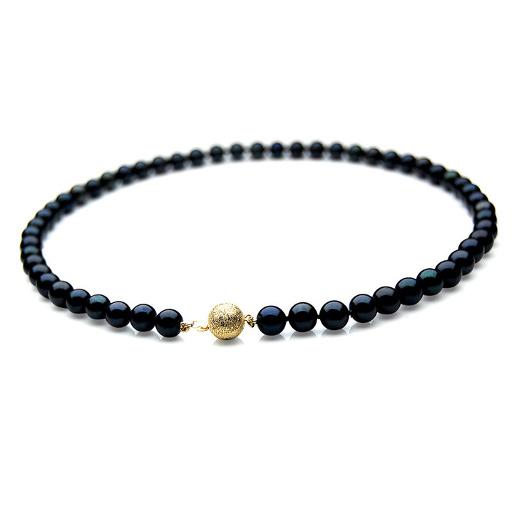 AN042 (AAA 7-7.5mm Japanese Akoya Saltwater Black Pearl Necklace  gold clasp )