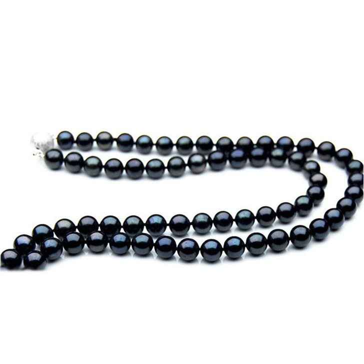 AN043 (AAA 7-7.5mm Japanese Akoya Saltwater Black Pearl Necklace gold clasp )
