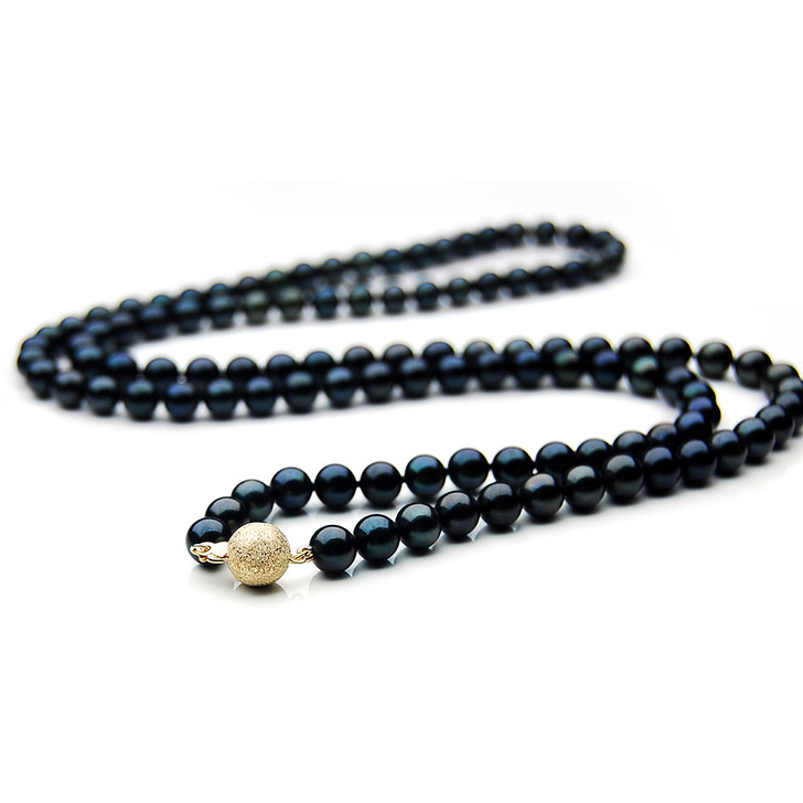AN044 (AAA 7-7.5mm Japanese Akoya Saltwater Black Pearl Necklace  gold clasp )