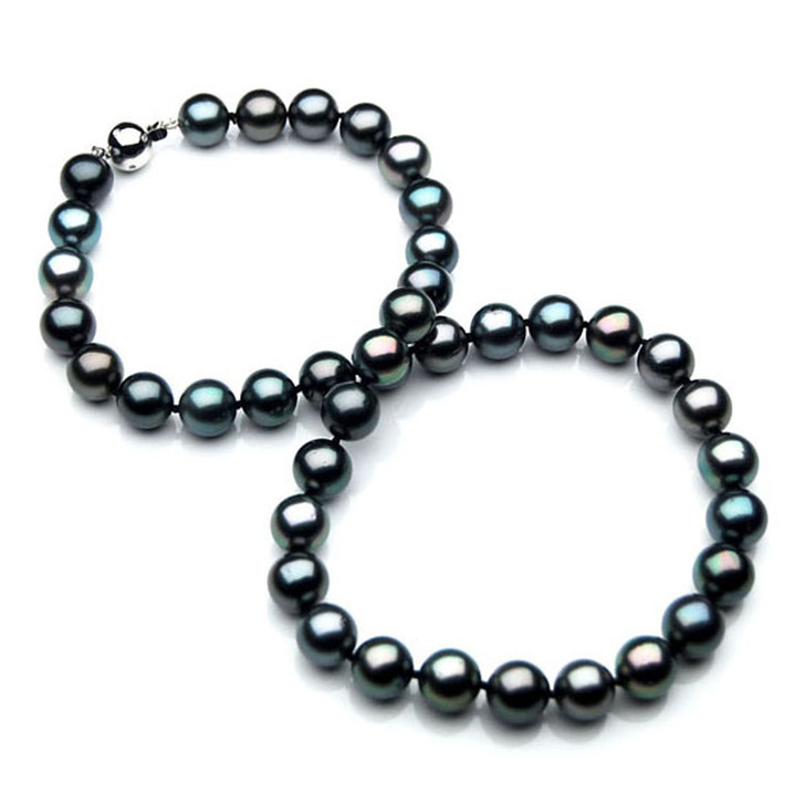 TN003 (AAA 9-11 mm Tahitian Black  Pearl Necklace  W gold Diamond clasp )