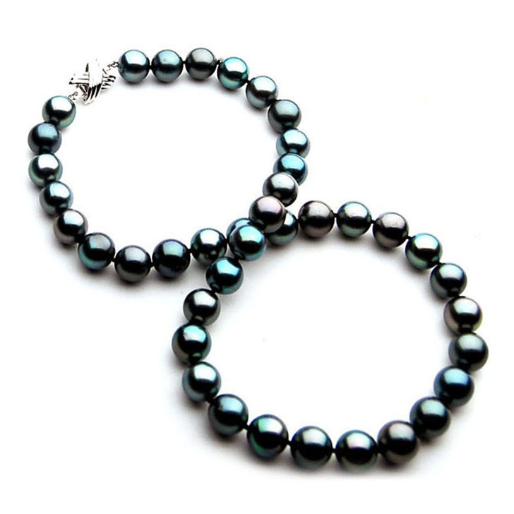 TN005 (AAA 9-11 mm Tahitian Black  Pearl Necklace 14k White gold clasp )