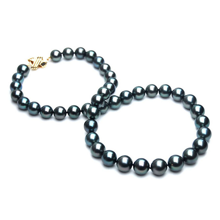 TN006 (AAA 9-11 mm Tahitian Black  Pearl Necklace 14k Yellow gold clasp )