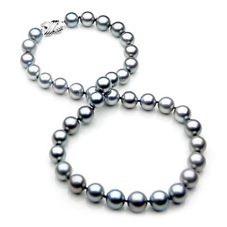 TN007 (AAA 9-11 mm Tahitian Silver Gray  Pearl Necklace 14k White gold clasp )