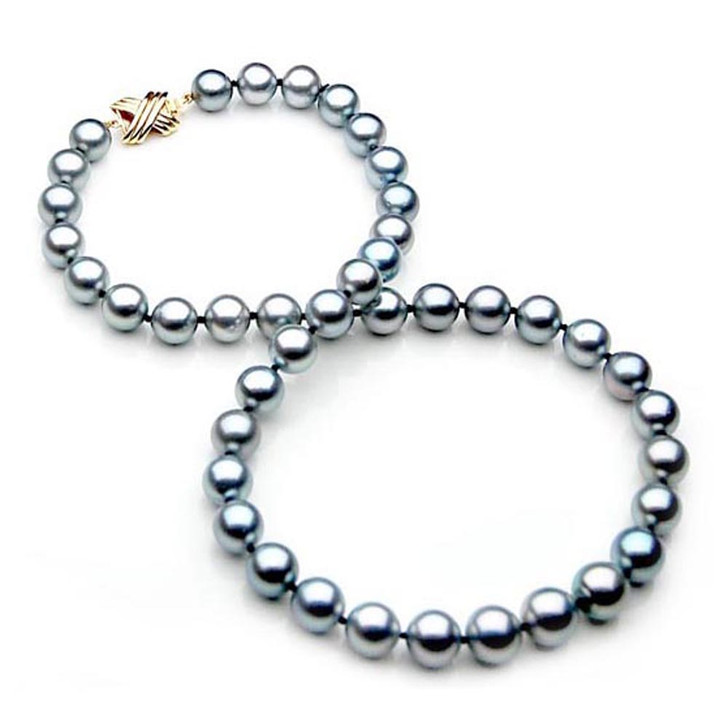 TN008 (AAA 9-11 mm Tahitian Silver Gray Pearl Necklace 14k gold clasp )