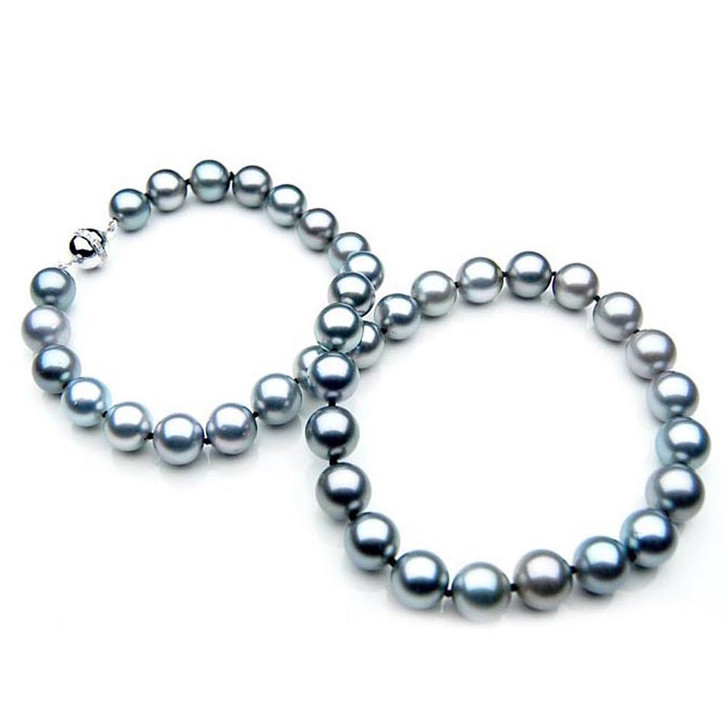 TN009 (AAA 9-11 mm Tahitian Gray Pearl Necklace W gold Diamond clasp )