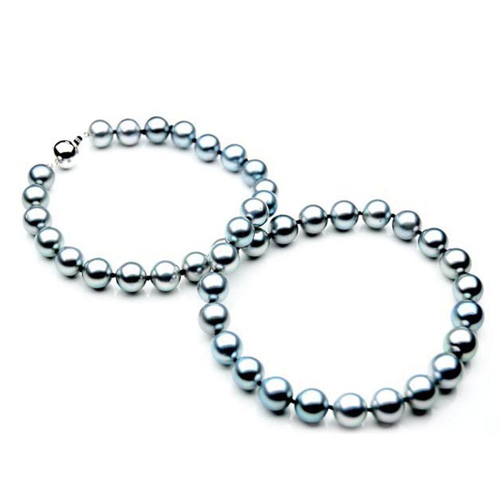 TN010 (AAA 9-11 mm Tahitian Gray Pearl Necklace W gold Diamond  clasp )