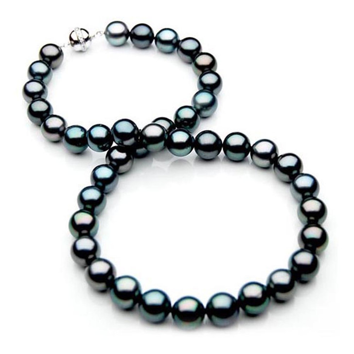 TN011 (AAA 10-12 mm Tahitian Black  Pearl Necklace W gold Diamond clasp )