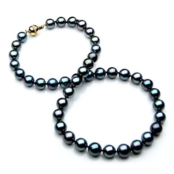 TN012 (AAA 10-12 mm Tahitian Black  Pearl Necklace gold Diamond  clasp )