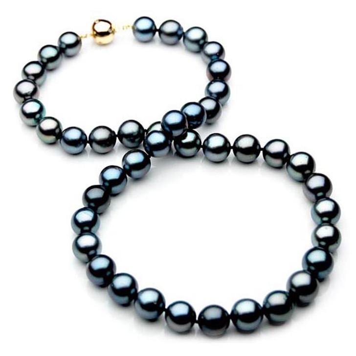 TN014 (AAA 10-12 mm Tahitian Black  Pearl Necklace gold Diamond  clasp )