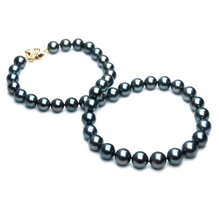 TN016 (AAA 10-12 mm Tahitian Black  Pearl Necklace 14k  gold clasp )