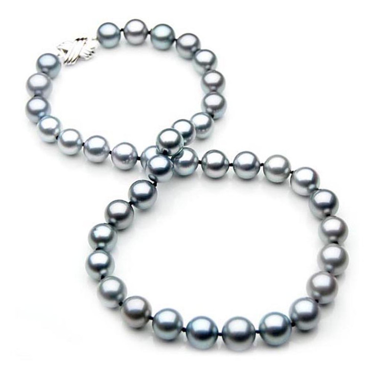 TN017 (AAA 10-12 mm Tahitian Gray Pearl Necklace  W  gold clasp )