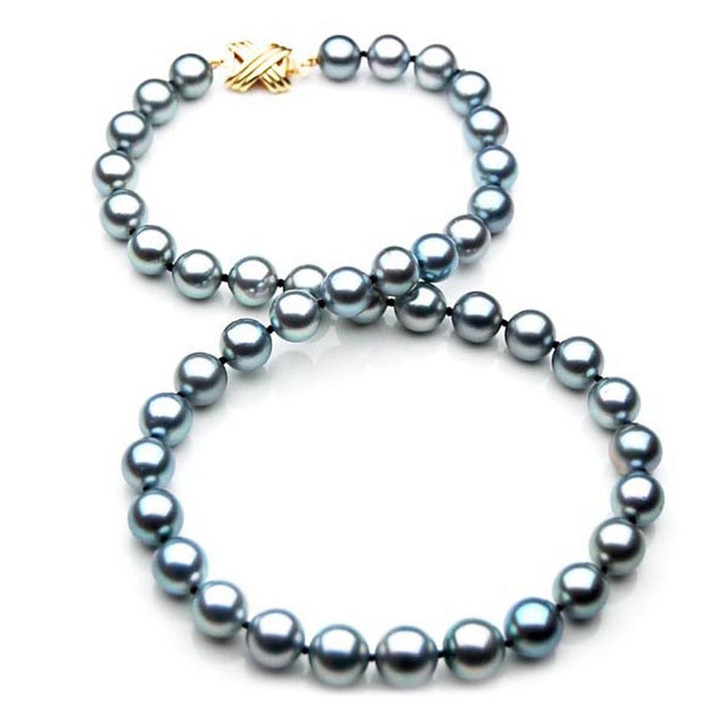 TN018 (AAA 10-12 mm Tahitian Silver Gray Pearl Necklace 14k gold clasp )