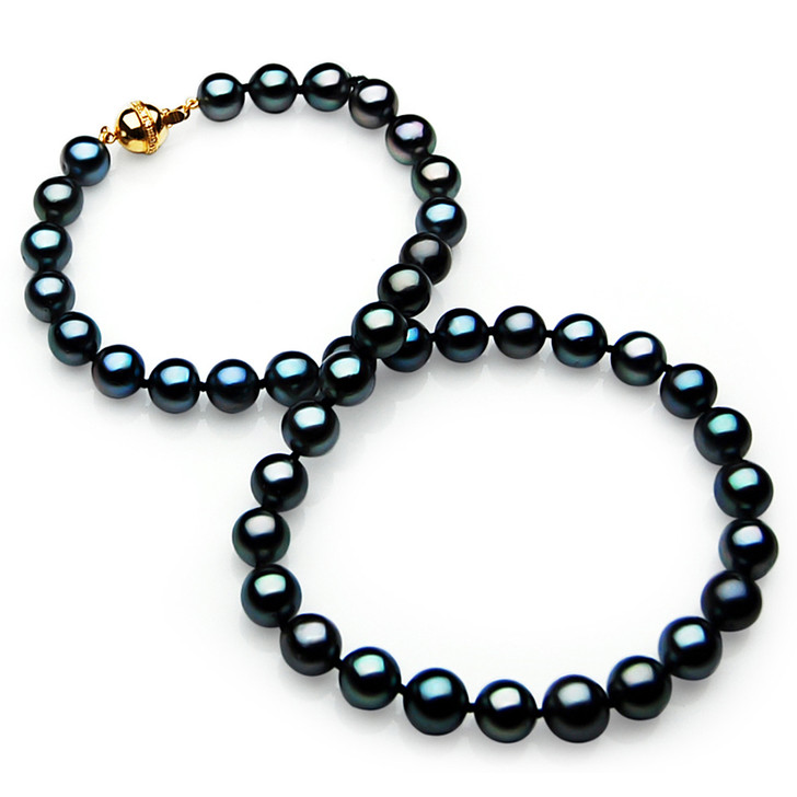 TN022 (AAA 11-13mm Tahitian Black  Pearl Necklace  gold Diamond  clasp)