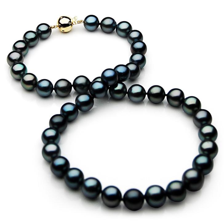 TN024 (AAA 11-13mm Tahitian Black  Pearl Necklace gold Diamond clasp)