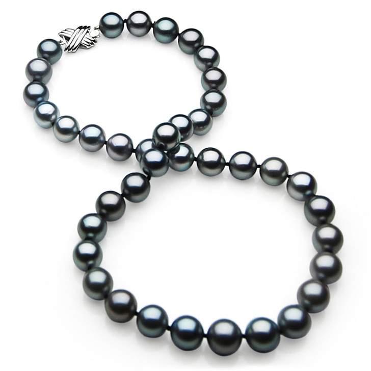 TN025 (AAA 11-13mm Tahitian Black  Pearl Necklace  14k White gold clasp)