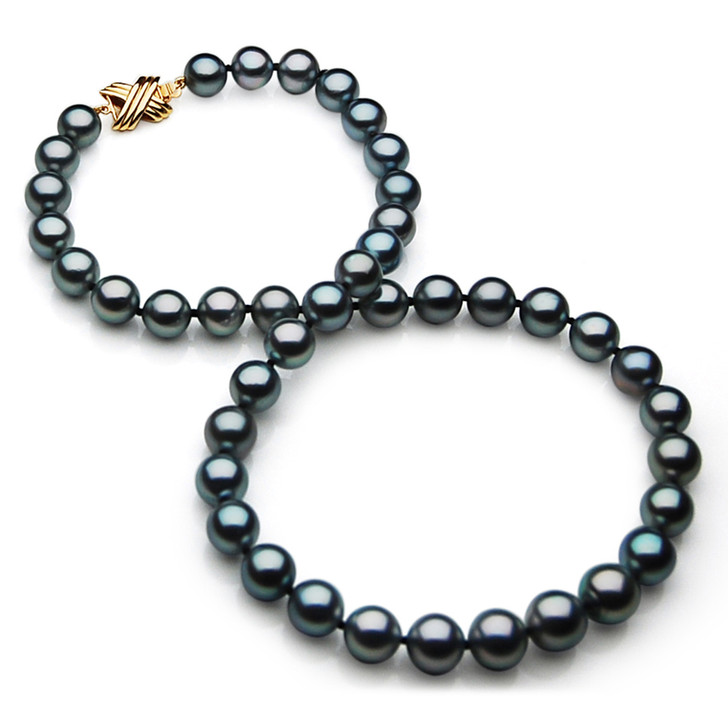TN026 (AAA 11-13mm Tahitian Black  Pearl Necklace 14k  gold clasp)
