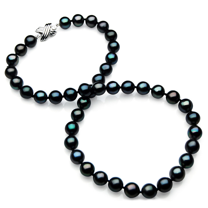 TN027 (AA 9-11mm Tahitian Black  Pearl Necklace 14k White gold clasp)