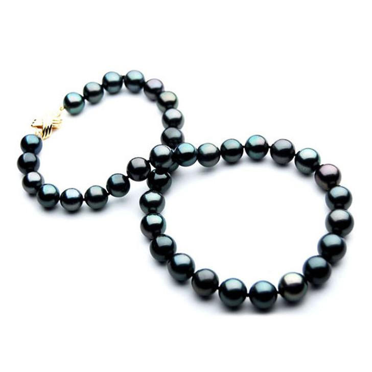 TN028 (AA 9-11mm Tahitian Black  Pearl Necklace 14k Yellow gold clasp)