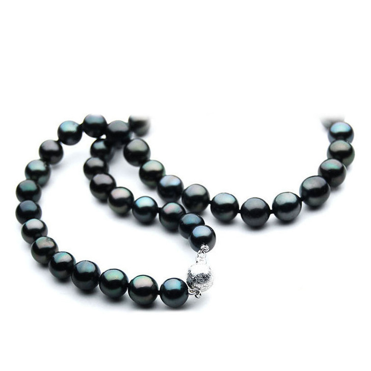TN029 (AA 9-11mm Tahitian Black  Pearl Necklace 14k White gold clasp)