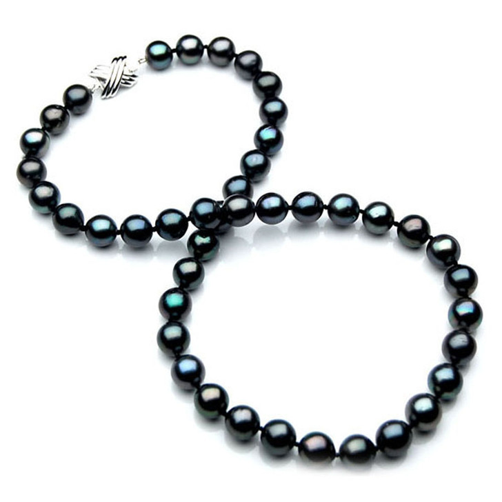 TN030 (AA 10-12mm Tahitian Black  Pearl Necklace 14k White gold clasp)