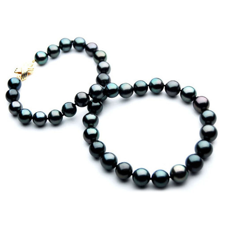 TN031 (AA 10-12mm Tahitian Black  Pearl Necklace 14k Yellow gold clasp)