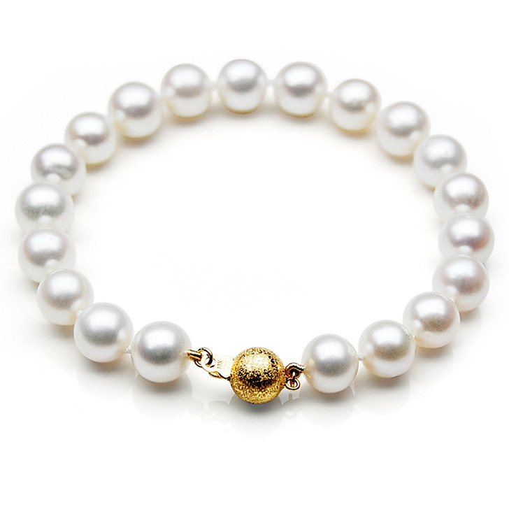 FB002 (AAA 9-10 mm Freshwater Pearl Bracelet 14k Yellow gold clasp