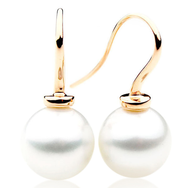 SE080  (AAA 13mm Australian South Sea Pearl Earrings in 18k Gold)