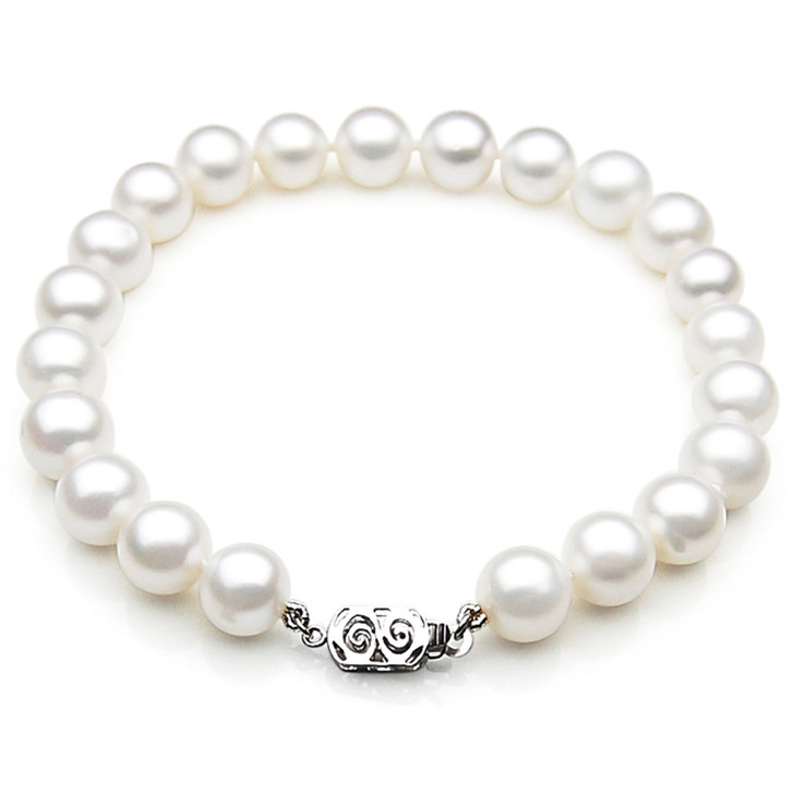 FB005 (AAA 9-10 mm Freshwater Pearl Bracelet 14k White gold clasp )