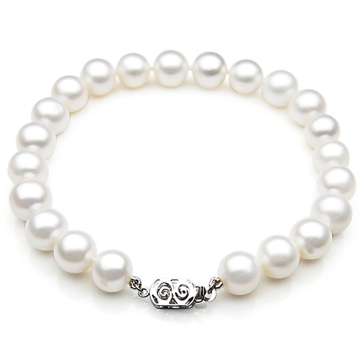 FB007 (AAA 9-10 mm Freshwater Pearl Bracelet 14k White gold clasp )