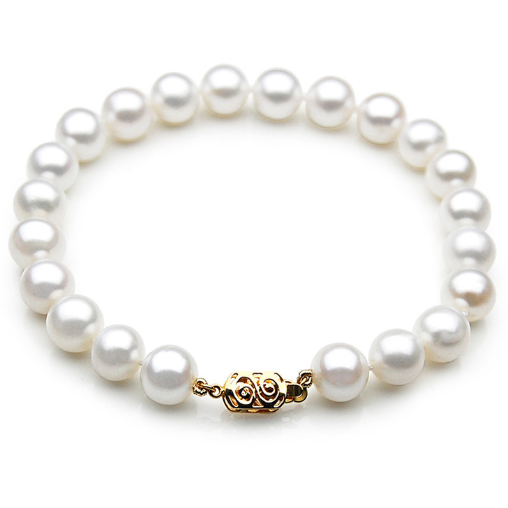 FB008 (AAA 9-10 mm Freshwater Pearl Bracelet 14k Yellow gold clasp