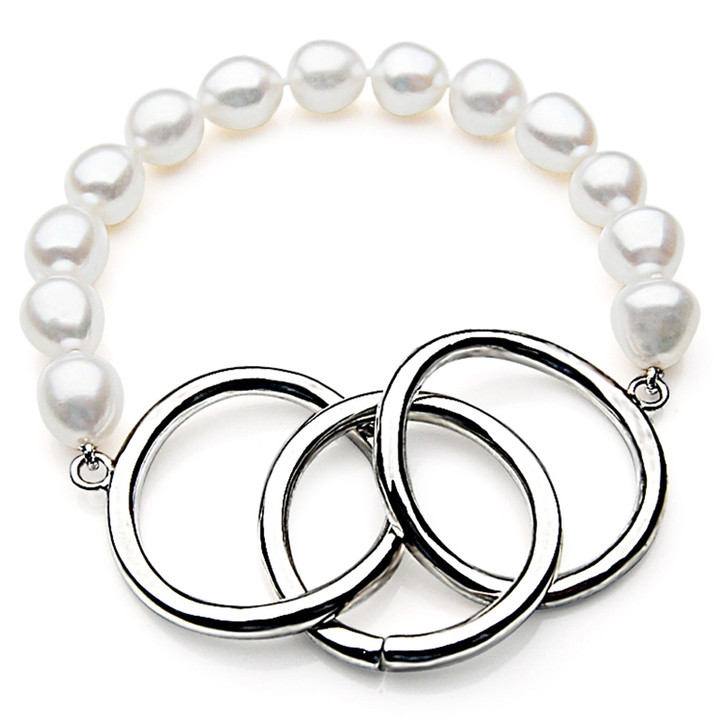 FB013 (AAA 11mm Drop Freshwater Pearl Bracelet Silver clasp )